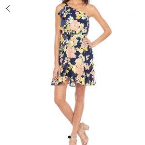 NWOT Kaari Blue One Shoulder Ruffle Dress XL